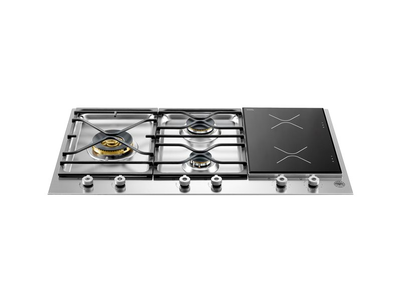 90 3-Segment 3-Burner Gas/Induction hob | Bertazzoni - Stainless